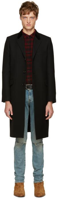 Saint Laurent Black Long Wool Coat