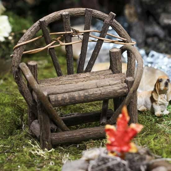 Mini Rustic Twig Vine Bench Fairy Gardens And Fairy Houses