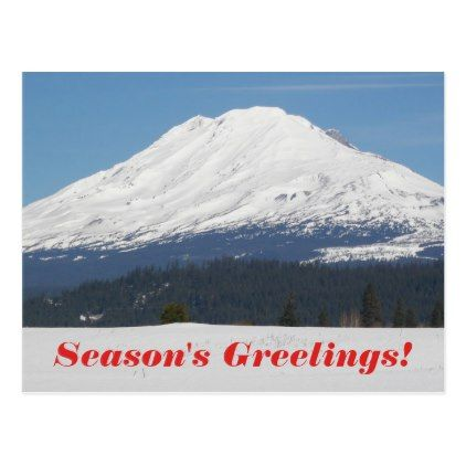 Snowy Mountain Photo Holiday Postcard - holiday card diy personalize design template cyo cards idea
