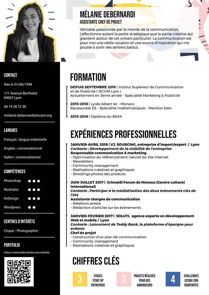 Cv Pop Cv Creatif Assistante Communication