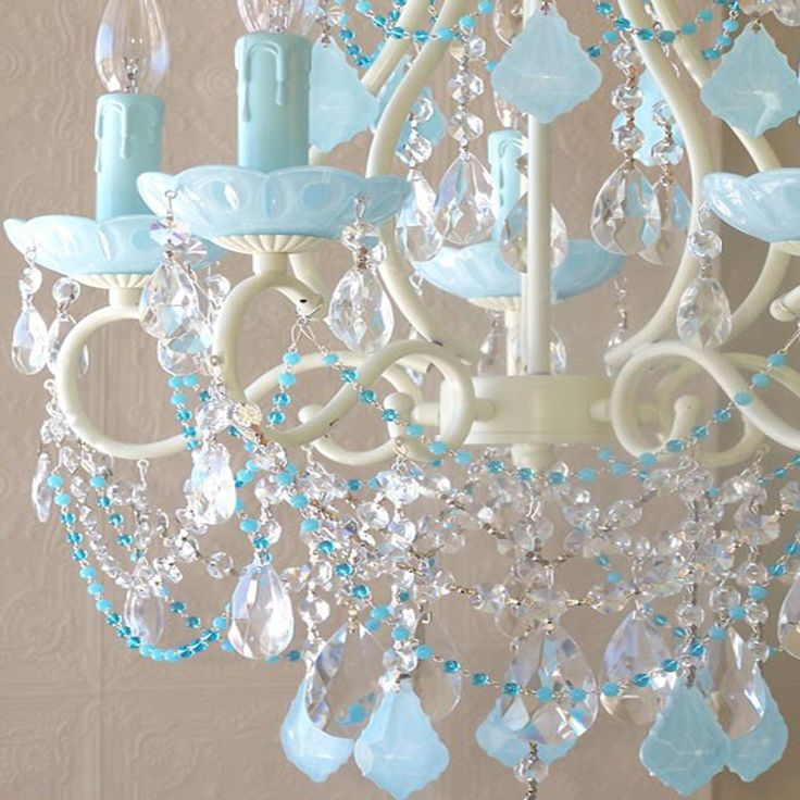 Captivating This Spectacular Vintage Inspired Chandelier Has Been Painted A Beautiful  Ivory And Adorned With Milky Opal Aqua Blue French Pendants