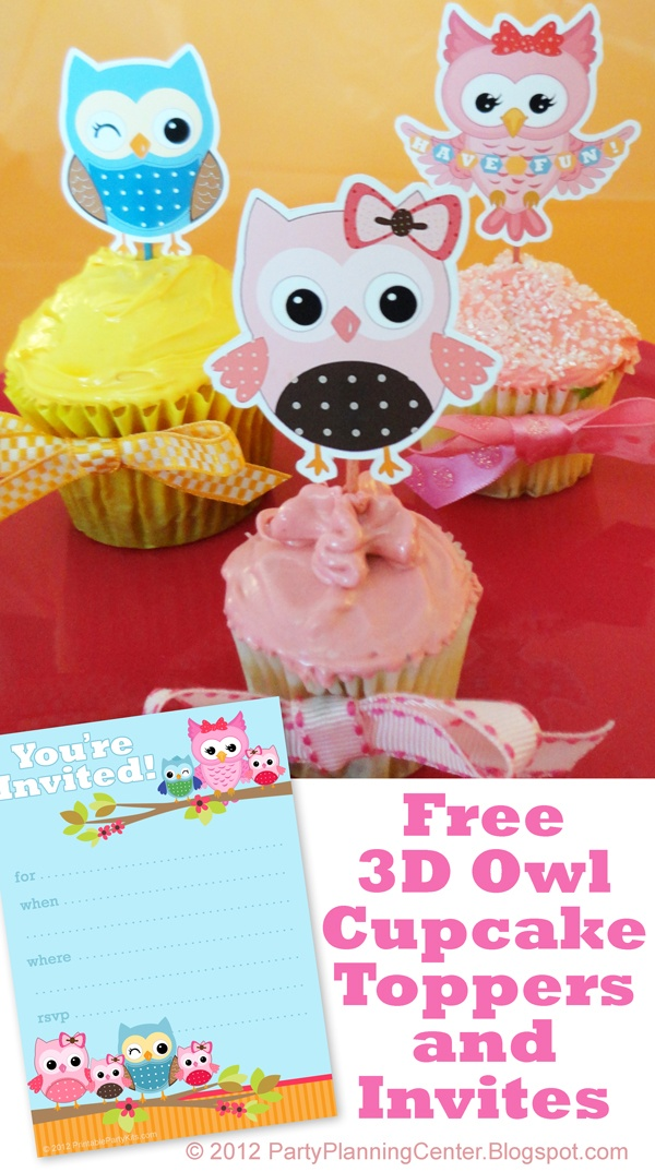 Free Printable Owl Cupcake Toppers and Matching Invitations