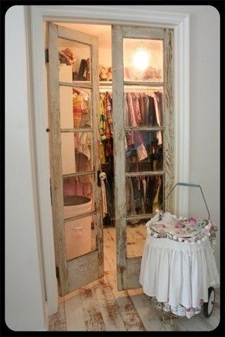 switch out closet door for vintage french doors! Love this!! We could do this in the master bath! @ Home Designs