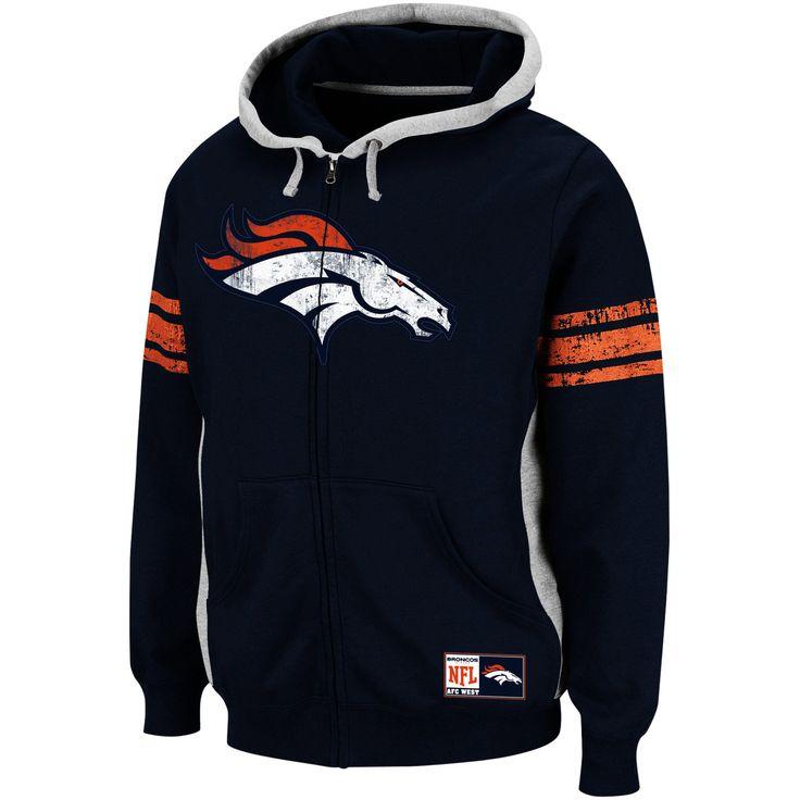 Denver Broncos Intimidating V Full-Zip Hooded Sweatshirt - Navy Blue