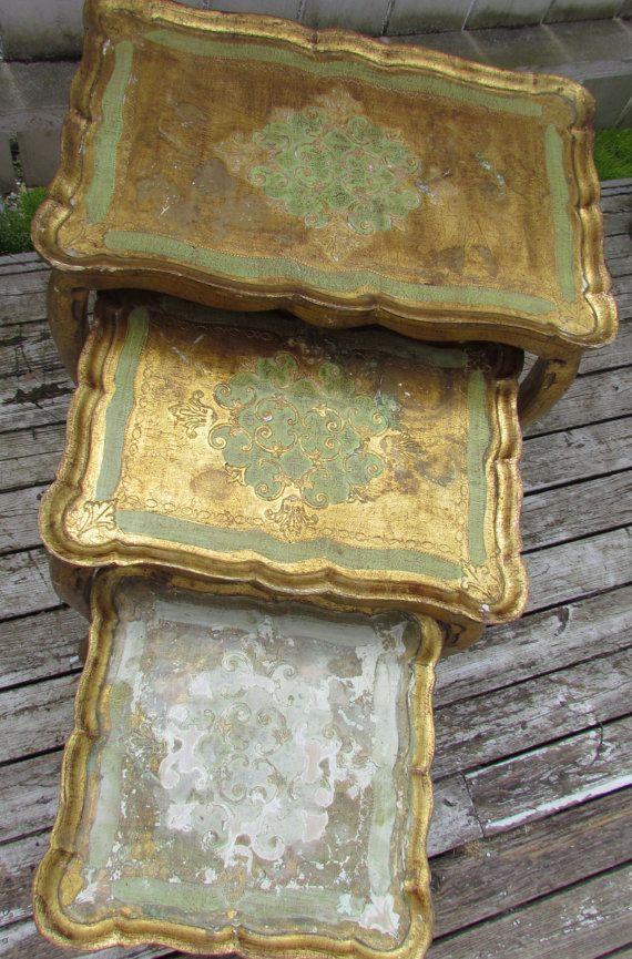 Vintage Italian Florentine Nesting Tables Set