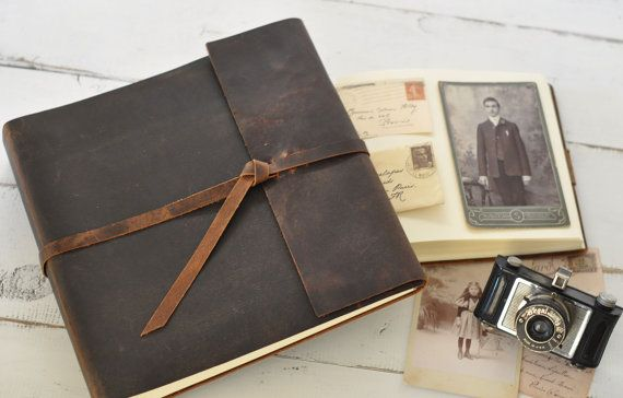 Leather Photo Album  rustic leather album w/wrap by clairemagnolia