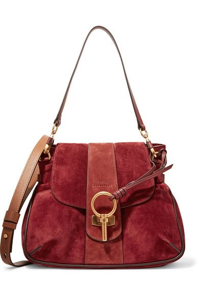 Chloé - Lexa Small Paneled Suede And Leather Shoulder Bag - Claret