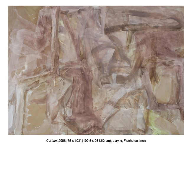 "Cora Cohen. Curtain, 2008 75 x 103"", acrylic, Flashe on linen"