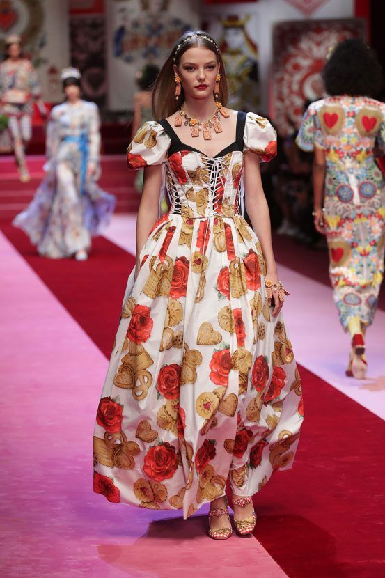 Dolce and Gabbana SS18 biscuit dress  Milan fashion week 2017