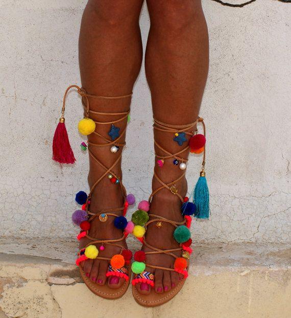 "Pom pom sandals/ Tie up Gladiator Sandals/ Boho Hippie Sandals/ Handmade Greek Women Leather Sandals/ Friendship Boho Flats ""Alegria"""