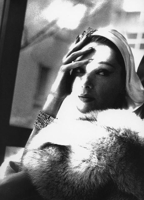 Marilyn Ambrose in fox stole by Frederica, photo Lillian Bassman 1954