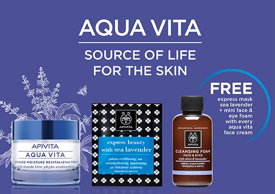 #Hydration is the key to facial #beauty & glow! #AquaVita #skincare #offer  With every #Aquavita #facecream you get for free an express #mask sea lavender and a mini face and eye foam!!!