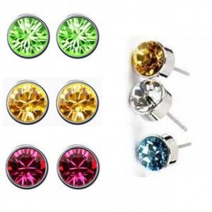 작은 원형 스터드 귀걸이 고품질 멀티 갈래 8 미리메터 크리스탈 CZ 다이아몬드 스터드 귀걸이 보석