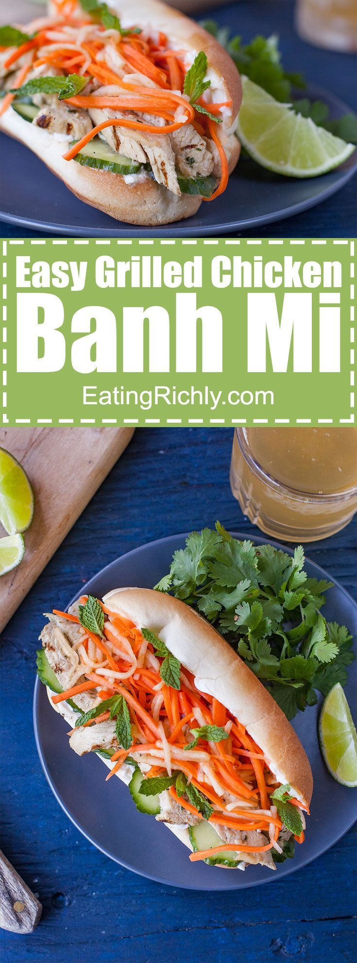 This Vietnamese sandwich recipe is an authentic grilled chicken banh mi packed with exciting flavors, colors and textures. And it's SO easy to make! From EatingRichly.com via @eatingrichly