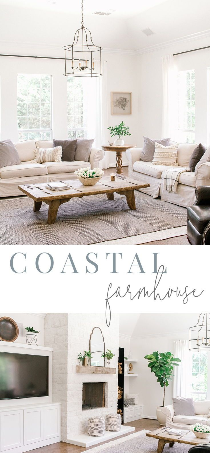 Coastal Farmhouse Living Room Reveal