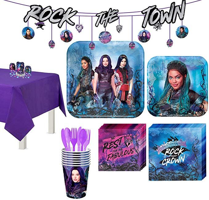 Party City Super Descendants 3 Tableware Supplies for 8 Guests, with Table Cover...
