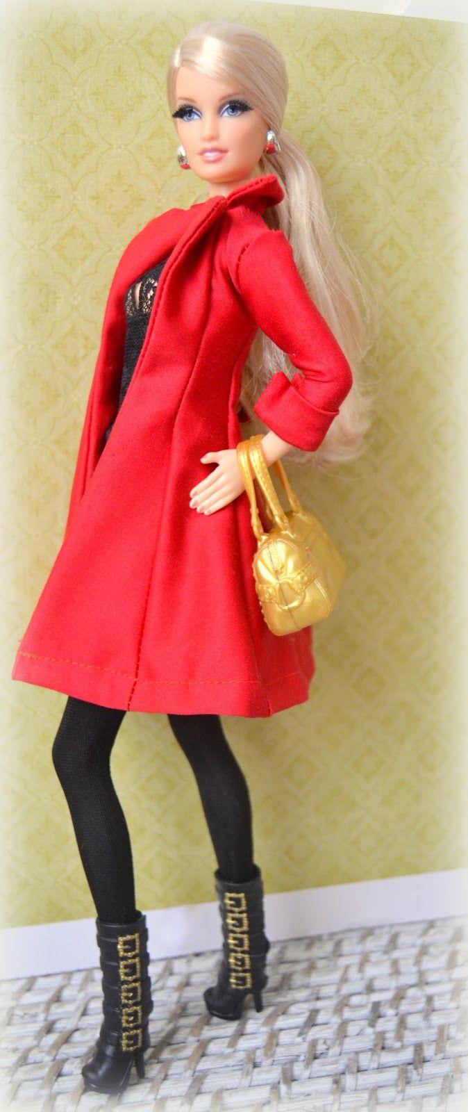 Mi casita de muñecas: Abrigo rojo para Barbie. Patrón.