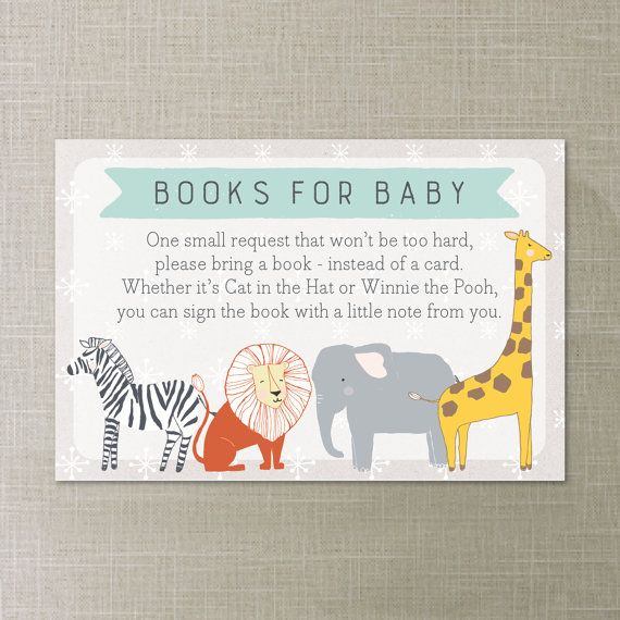 Books for Baby. Please bring a book instead of a card. Baby Shower Book Request. #babyshower #bookrequest #zooanimals