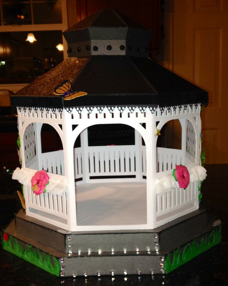 Oh, how crafty we are!   Cynde was ready for Spring so decided to transform the Winter Gazebo into this gorgeous Spring gazebo using seven more kits and collections from http://svgcuts.com/    She opened it up by leaving out the vellum covers and added an extra base on the bottom for more steps.  Check out her page to see the back, you won't be sorry, it is stunning!  And see the rest of the kits she used!  http://notsosuze.blogspot.com/2014/02/spring-fever.html