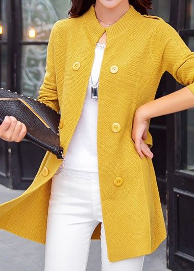 71fd31b608 Yellow Button Embellished Long Sleeve Cardigan
