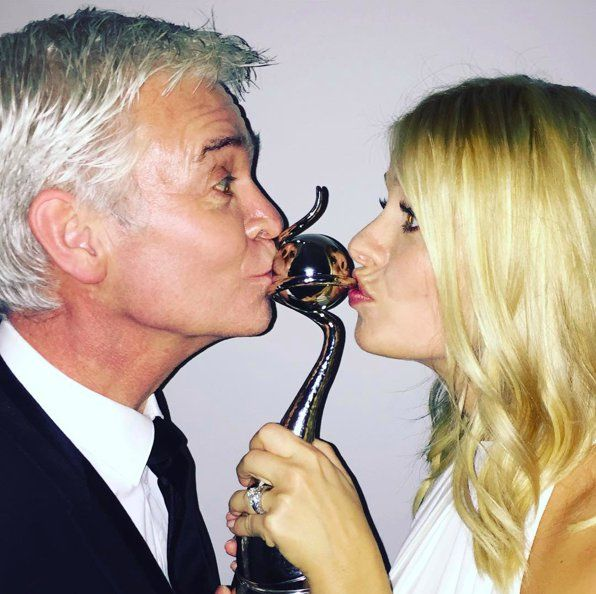 "Pin for Later: The National TV Awards Instagram Moments You Don't Want to Miss! Holly Willoughby and Phillip Schofield ""You've made us very very happy!!! Thank you! #ntas @schofe xxx"""