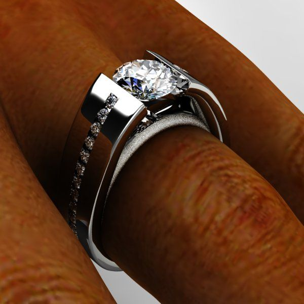 White gold polished and brush finished cathedral diamond tension set ring with accenting side diamonds