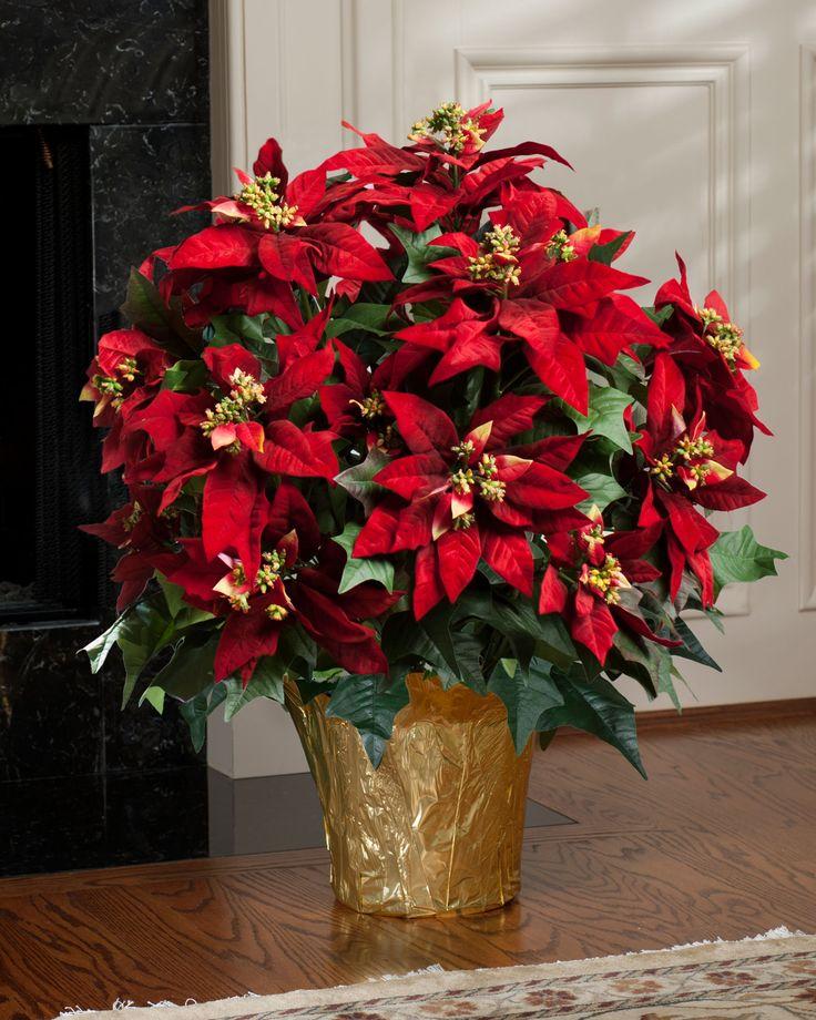 XL Premier Silk Poinsettia Plant in Red Color