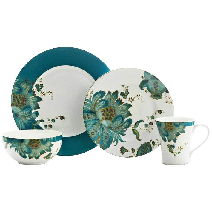 222 Fifth Eliza Teal 16-Piece Dinnerware Set - #2H519 | Lamps Plus