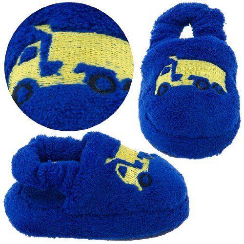 Royal Blue Dump Truck Toddler Slippers for Boys Chatties. $5.99