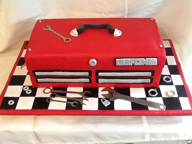 Craftsman Tool Box Cake    What almond sour cream with fondant www.johnnycakesbakery.com