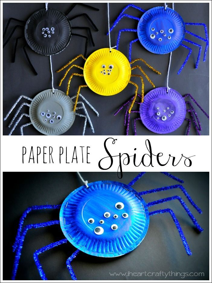 Paper Plate Spider Craft from I Heart Crafty Things. Simple and fun kids craft for #Halloween.