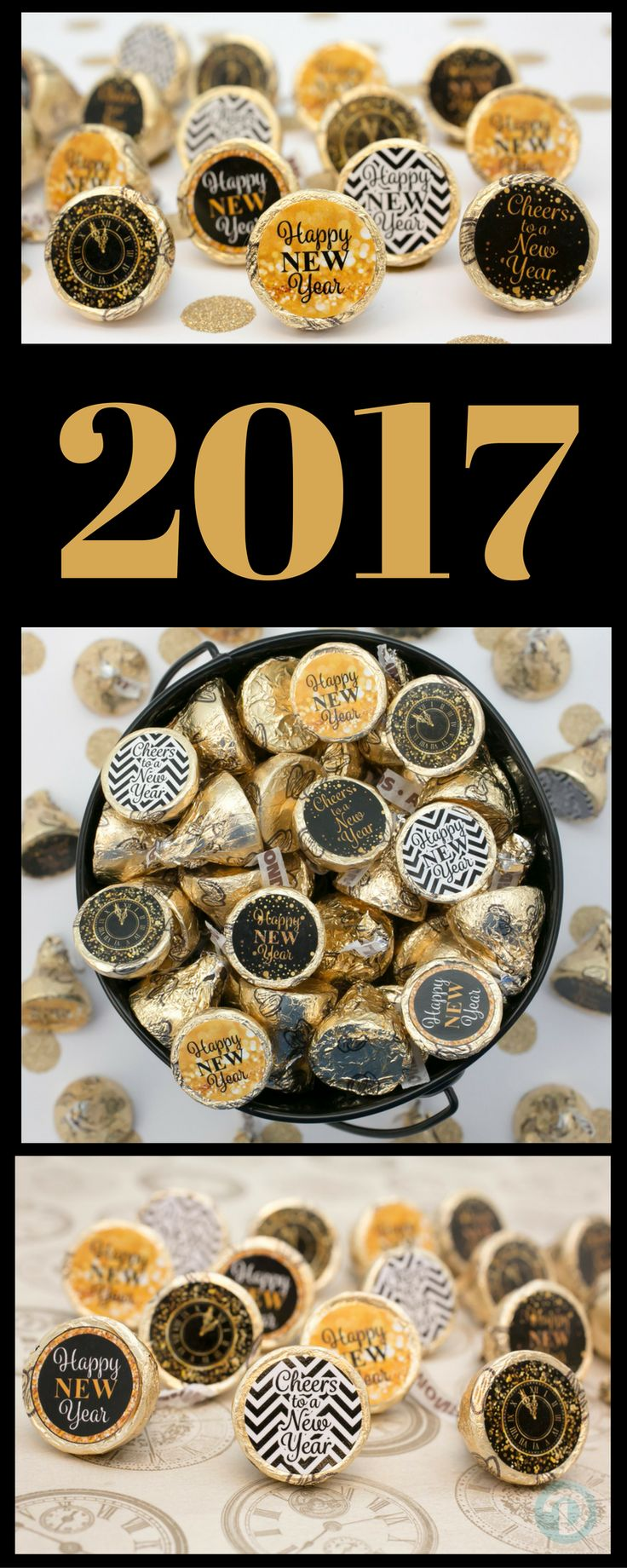Simply peel and stick these New Years Eve stickers to a Hershey Kiss or other small candies to create a simple and easy New Year's Eve party favor decoration! #newyearspartyfavor #blackandgold #nyeparty