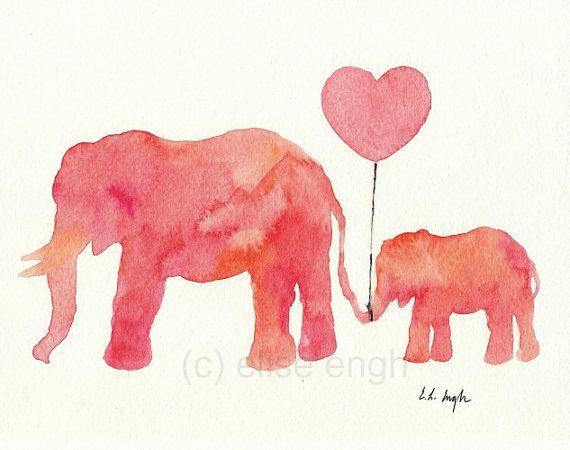 Mom And Baby Elephant Holding Heart Balloon Original