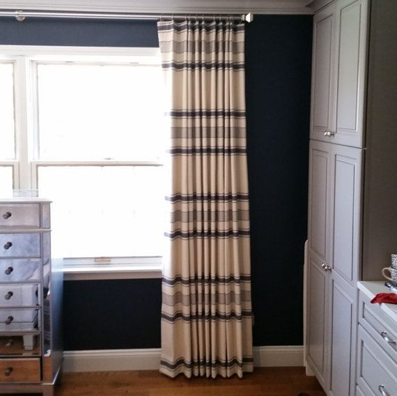 designer horizontal knit stripe drapery panel in navy the knife pleat adds structure and custom - Drapery Panels