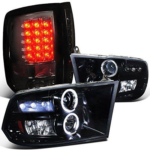 Dodge Ram Glossy Black Halo Led Projector Headlights, Smoked Led Tail Lights