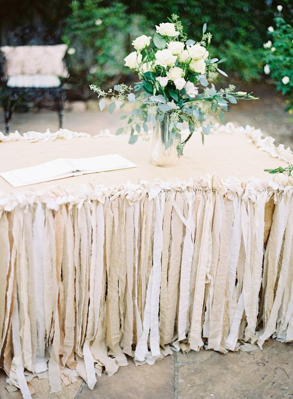 neutral wedding color ides - beige wedding table skirt