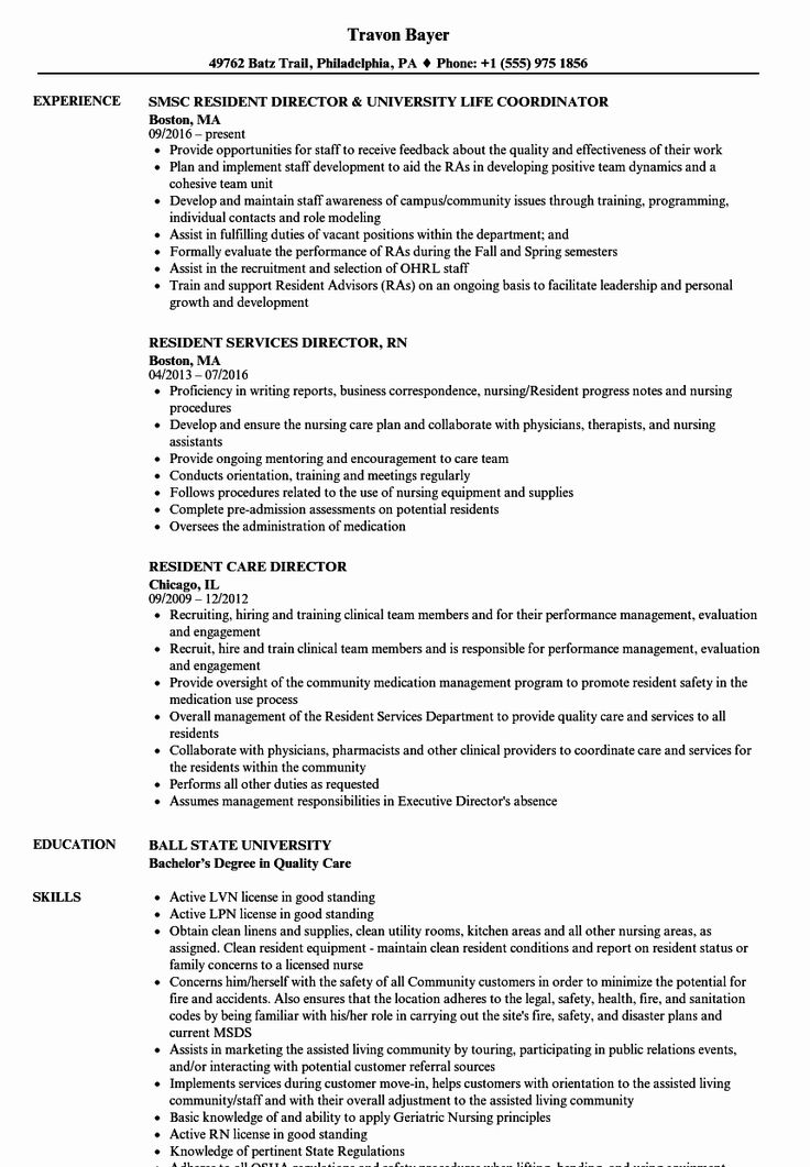 resident assistant resume examples elegant resident