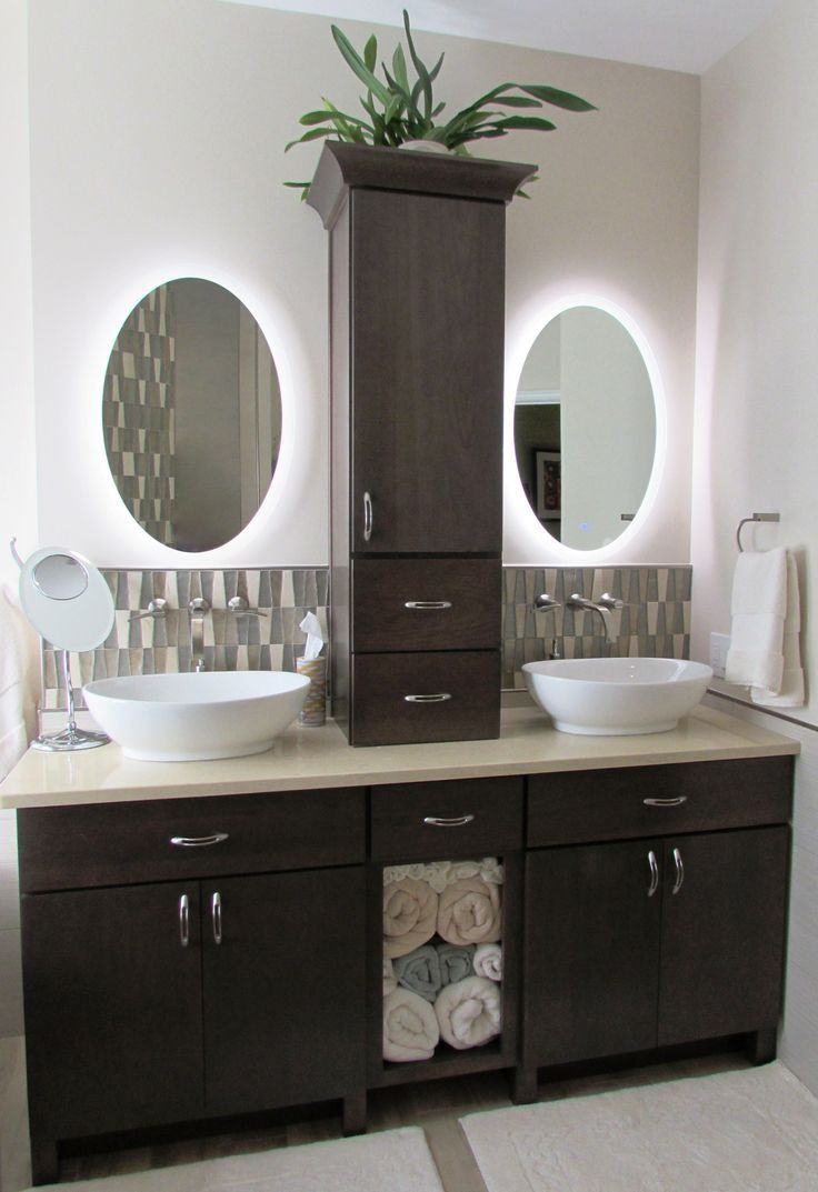 Frederick Bathroom Remodel By Talon Construction With A His And Hers Vanity And Lighted Mirrors