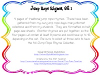 Free: Jump Rope Rhymes practice fluency and get fit at the same time!