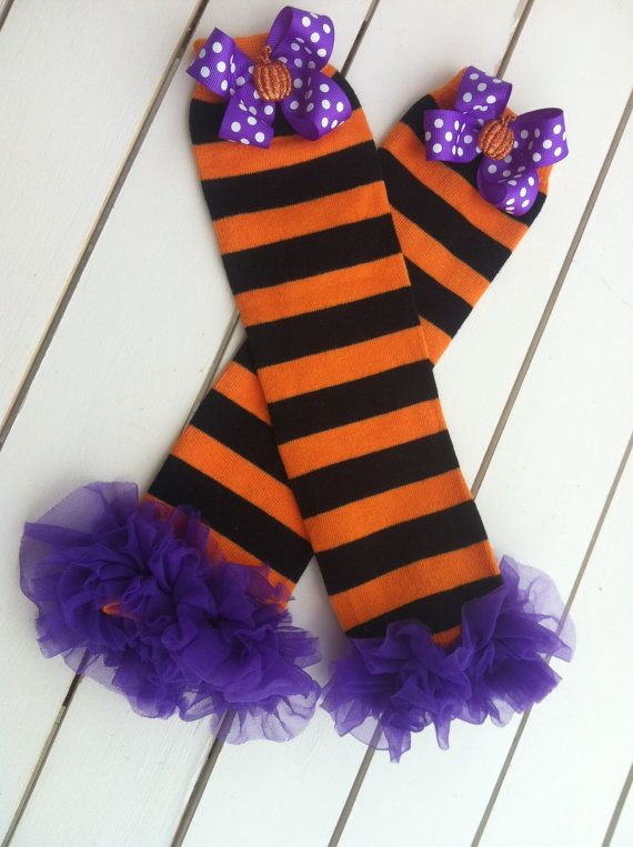 Halloween Leg WarmersOrange and Black Striped by BetterThanBows, $14.95
