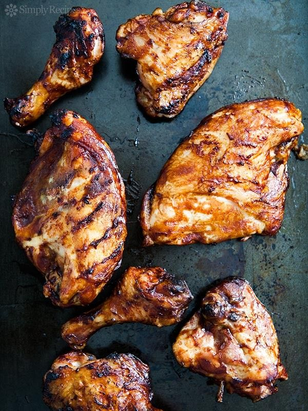 Barbecued Chicken on the Grill ~ Slow barbecued chicken on the grill, slathered with your favorite barbecue sauce. ~ SimplyRecipes.com