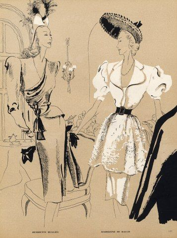 Beaujeu & Madeleine de Rauch 1945 Evening Gown Fashion Illustration