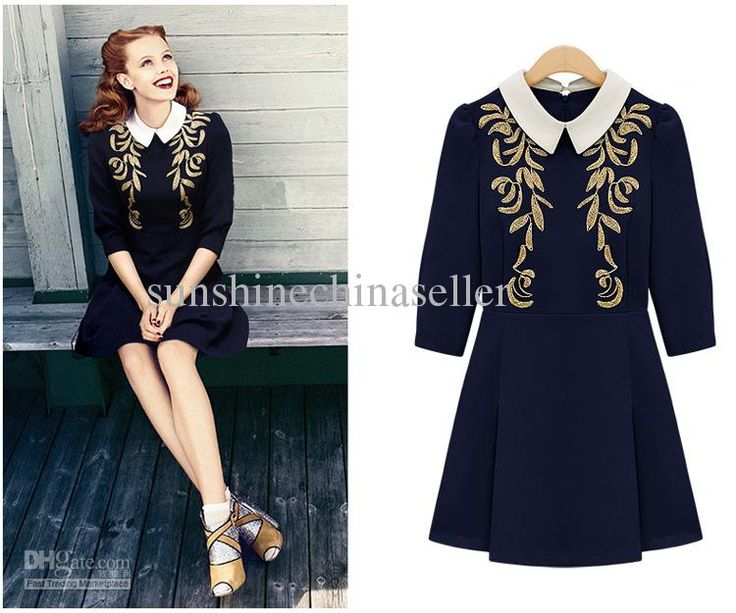 Buy cheap embroidery lapel princess long sleeve lady dress 551 with $25.62-29.5/Piece DHgate