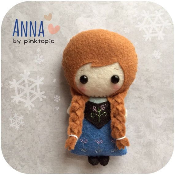 Anna Felt Plush Toy Frozen by pinkTopic on Etsy