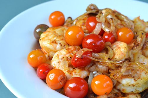Sauteed Shrimp With Onions and Cherry Tomatoes Recipe Main Dishes with shrimp, spices, fat, kosher salt, onions, cherry tomatoes, lime