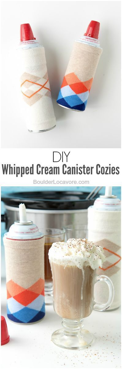 DIY Whipped Cream Canister (or wine bottle) Cozies. Easy, inexpensive and a great addition for winter entertaining! | Boulder Locavore