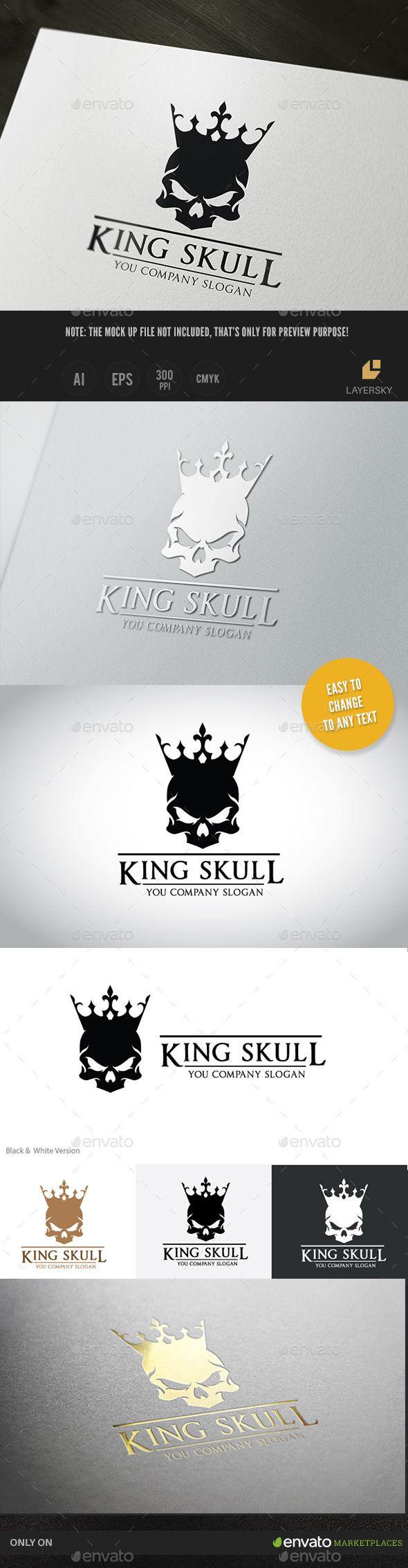King Skull Logo Template #design #logo Download: http://graphicriver.net/item/king-skull/11384153?ref=ksioks