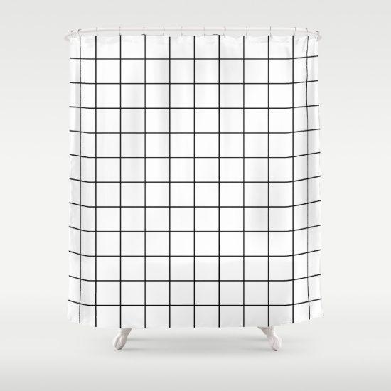 White Black Grid Minimalist Shower Curtain