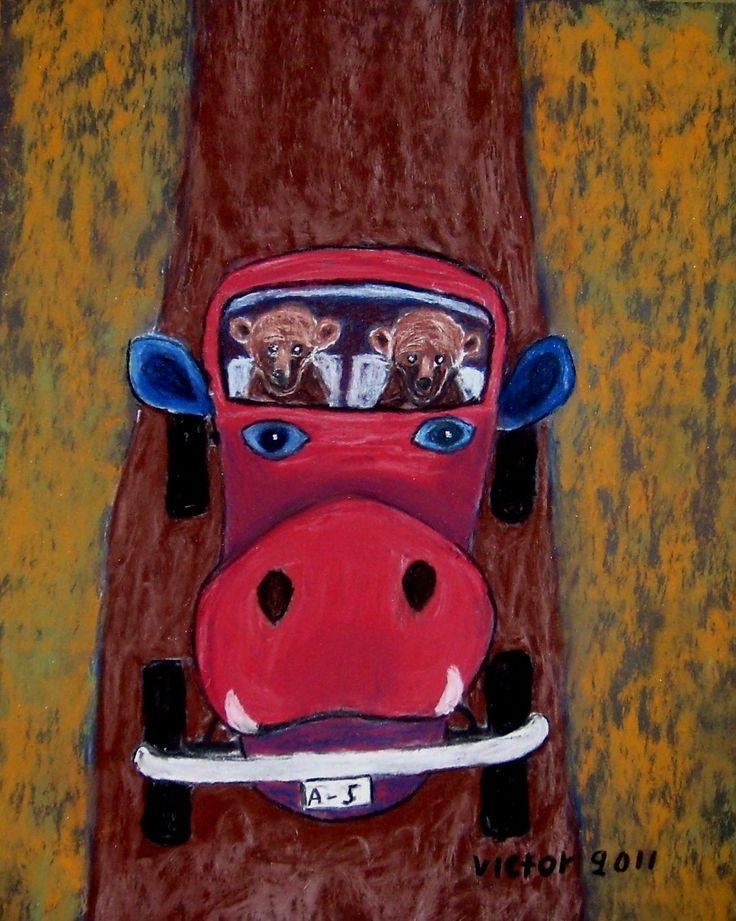 Nalles grisbil, pastell på papper. Nalle's pig-car, pastel o paper.
