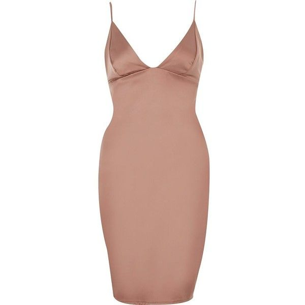 River Island Pink plunge bodycon mini dress (99 BAM) ❤ liked on Polyvore featuring dresses, bodycon dresses, pink, women, short pink dress, short mini dress, body con dress, strappy cami and pink dress